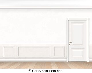 Classic interior in white color with door and wall panel...