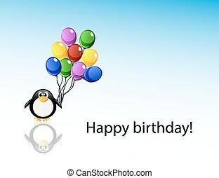 Vector cartoon penguin with balloons