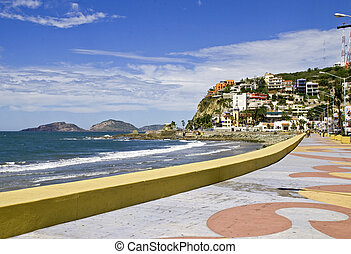 Seawall on the Mexican Pacific Ocean in Mazatlan, Sinaloa