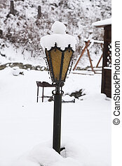 Lamp - on the photo lamp in the snow