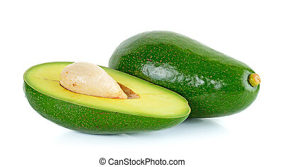 Green avocado isolated on the white background