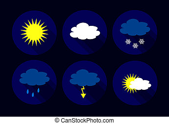 Vector weather flat icons - sun, clouds, snow flakes, flash,...