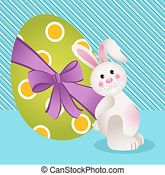Cute bunny with Easter egg - Scalable vectorial image...