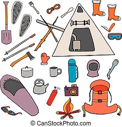 Set color winter camping symbols, signs hand drawn isolated...