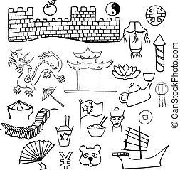 セット, 中国語, 手, 特徴, サイン, 引かれる