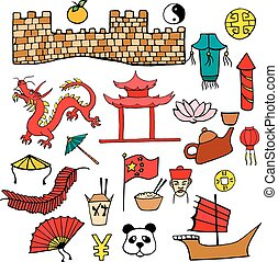 セット, 中国語, 色, 手, 特徴, サイン, 引かれる