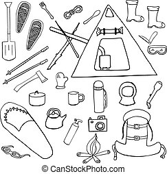 Set of winter camping symbols, signs hand drawn isolated on...