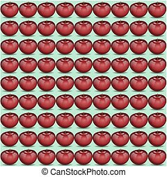 Red apple pattern - Fresh fruit ornament with water drops,...