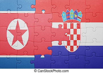 puzzle with the national flag of north korea and croatia...