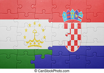 puzzle with the national flag of tajikistan and croatia ....
