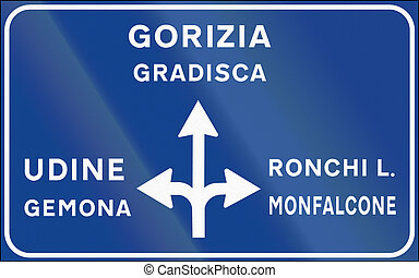 Road sign used in Italy - Sign post notice of non-urban...
