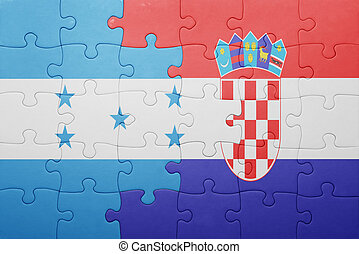 puzzle with the national flag of honduras and croatia...