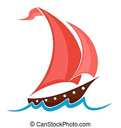 Boat with red sails.