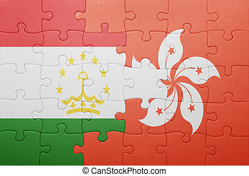 puzzle with the national flag of tajikistan and hong kong...