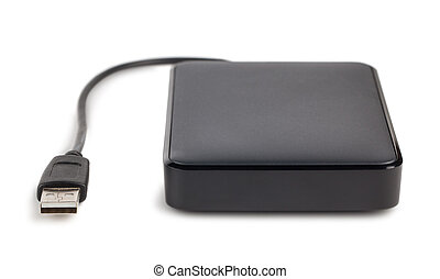 External hard disk - Black external hard disk with cable...