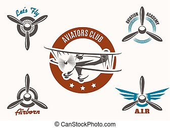 Aviation Emblem Set - Retro aviation and pilot club badge...