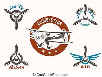 Aviation Emblem Set - Retro aviation and pilot club badge...