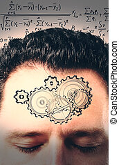 Brainstorm concept with a mans head, gears and a solution