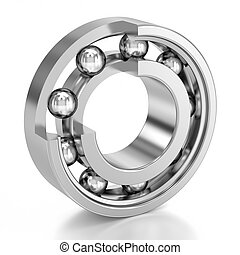 Cutted Ball Bearing over a white background Mechanical...