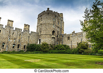 Upper Ward in Medieval Windsor Castle UK - View of Upper...