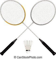 Badminton shuttlecock and rackets on a white background