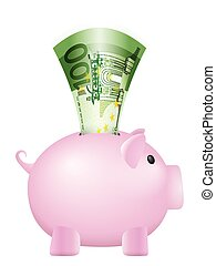 piggy bank one hundred euro banknote