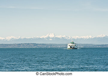 ferry - A car and passenger ferry is crossing the Puget...
