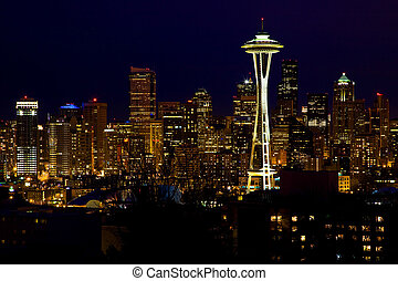 Seattle Skyline Space Needle At Night Kerry Park Seattle,...