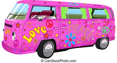 Hippy, furgoneta,