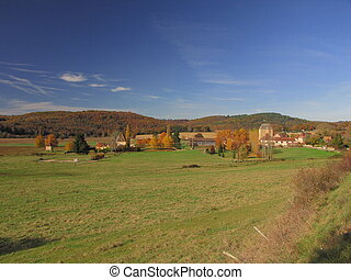 Farm, barn, landscape, autumn