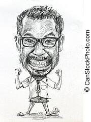 caricatura, dibujo, de, hombre, en, blanco, papel,