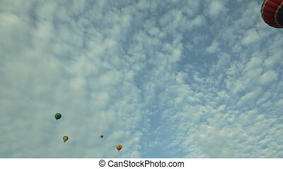 Hot air balloons in the blue sky aerostats