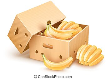 Cardboard box with banana fruits - Cardboard box with yellow...