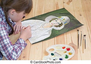 Girl draws gouache - gouache paints a portrait of a girl...