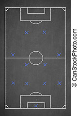 Soccer game strategy drawn with chalk on a blackboard Scheme...