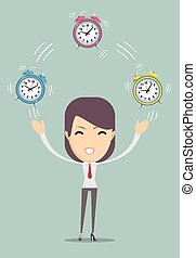 Office worker planning time juggler business woman Vector...