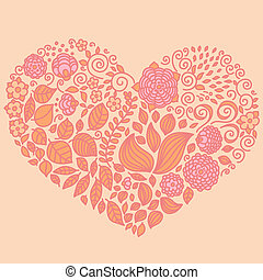 Tattoo floral doodle vector elements set in heart form Used...