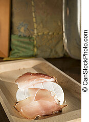 goat cheese and speck - goat cheese called tomino and speck...
