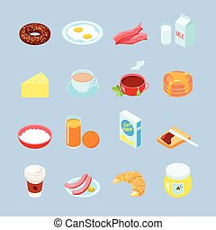 Breakfast Food And Drinks Flat Icon Set - Breakfast food and...