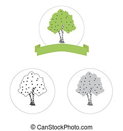 birch tree vector logo concept or internet icon three...