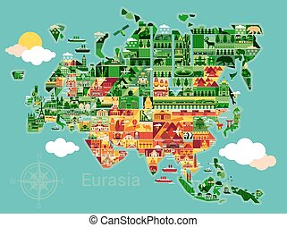 Cartoon map of Eurasia - Eurasia map with landscape and...