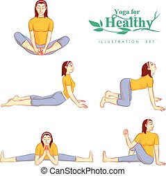 Young attractive girls do yoga for healthy