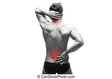 Man with backache. Pain in the human body. Muscular male...