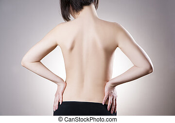 Woman with backache Pain in the human body