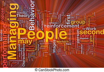 Managing people background concept glowing