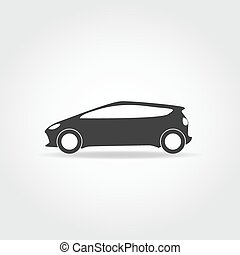 Car icon - Simplistic black car icon Hatchback with sport...