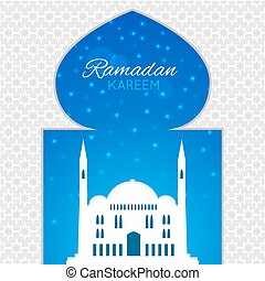 Mosques silhouette on blue night background. Vector