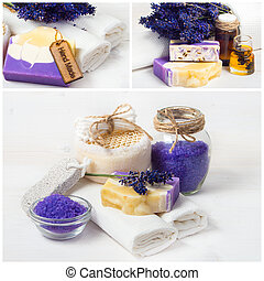 Lavender spa collage. Sea salt, white towels and handmade soap