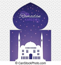 Mosques silhouette on purple night background. Vector