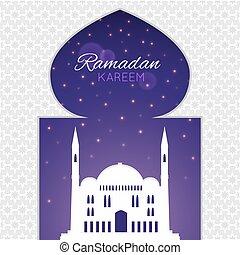 Moskéer, silhuett, på, purpur, Natt, bakgrund.,...